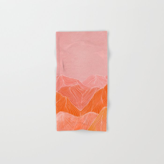 Lines in the mountains - pink II Hand & Bath Towel
