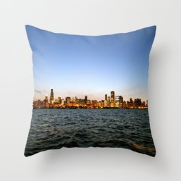 Chicago Skyline Sunset Throw Pillow