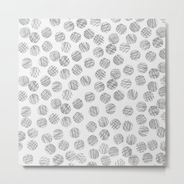 Trendy black white hand drawn polka dots pattern Metal Print