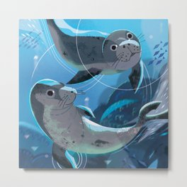Monk Seal Metal Print