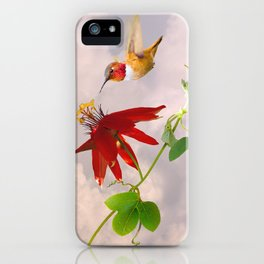 Rufous Hummingbird and Passion Flower iPhone Case