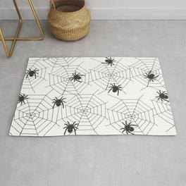Black Spider Halloween web Rug