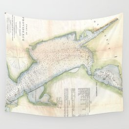 Vintage Port of Providence Rhode Island Map (1865) Wall Tapestry