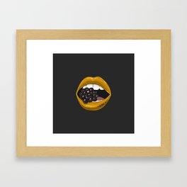 Gold lips vs berry Framed Art Print