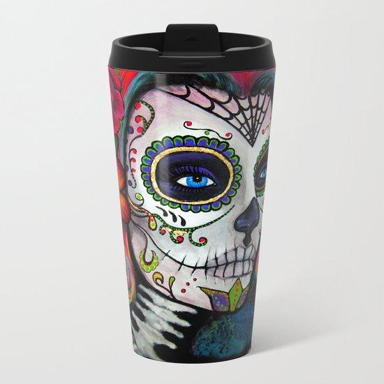 Sugar Skull Candy Metal Travel Mug