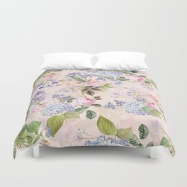 Vintage & Shabby Chic - Pink Redouté Roses Bouquets Pattern Duvet Cover