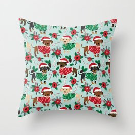 Dachshund christmas sweater poinsettia cute holiday gifts doxie dachsie dog breed Throw Pillow