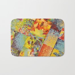 COLORFUL INDECISION 3 - Wild Vivid Rainbow Abstract Acrylic Painting Mixed Pattern Pretty Art Gift  Bath Mat