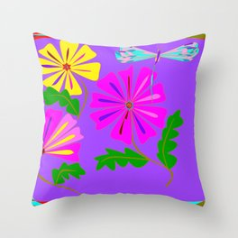 Lavender background of a Floral Design with Dragonfly Throw Pillow