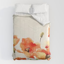Poppy Flower Meadow- Floral Summer lllustration Comforters