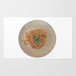 isolated italian spaghetti with tomato sauce and basil Rug