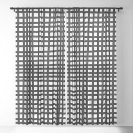 Black and White Gingham Sheer Curtain