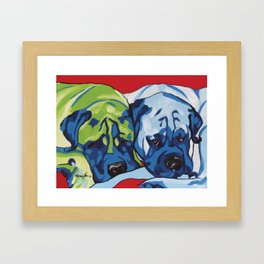 Mastiffs Pop Art Dog Portrait Painting Framed Art Print