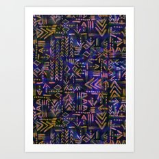 Tapa Tribal Aura Art Print