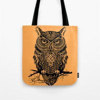 warrior Tote Bags featuring Warrior Owl 2 by Rachel Caldwell