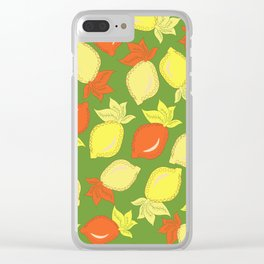 Tumbled Lemons Pattern Clear iPhone Case