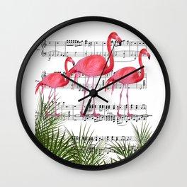 Flamingo dance Wall Clock