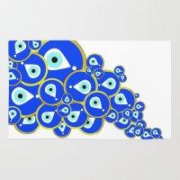 evil eye Area & Throw Rugs featuring Evil eye by Suburban Bird Designs