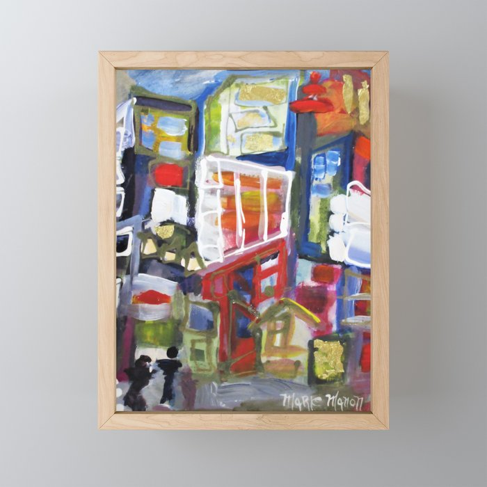 Walking Street Abstract City Scape Blue Red Yellow White Geometric Framed Mini Art Print
