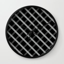 Gray White Square Pattern Geomeric Wall Clock