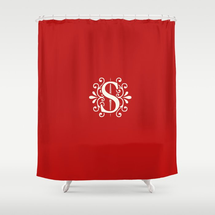 Monogram Letter S On Bright Red Shower Curtain By Lena127