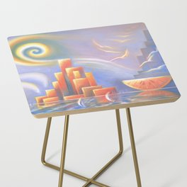 Dessert Party, Abstract Landscape, Orange, Downtown, Wall Art Side Table