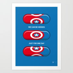 My SUPERHERO PILLS - America Captain Art Print
