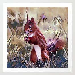 The Red Cheeked Ground Squirrel Art Print