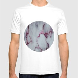 White with Maroon Marbling T-shirt