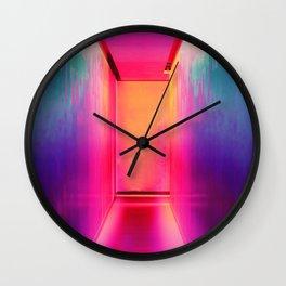 Neon Hallway (Color) Wall Clock