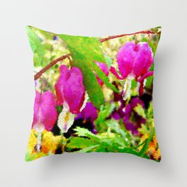 Bleeding Hearts Abstract Throw Pillow