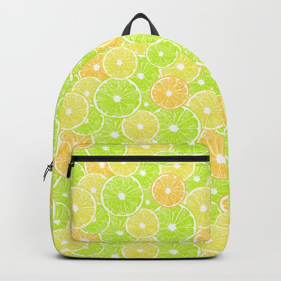 Lemon, orange and lime slices pattern design Backpack