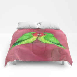 Peach faced lovebirds Comforters