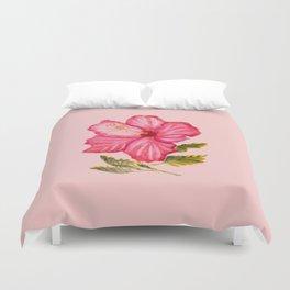 Pink hibiscus watercolor Duvet Cover