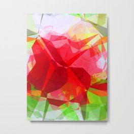 Red Rose Edges Abstract Polygons 1 Metal Print