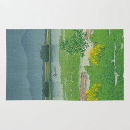 Kawase Hasui Vintage Japanese Woodblock Print Flooded Asian Rice Field Mountain Parallax Landscape Rug