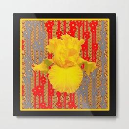 Oriental style Black-red Yellow Iris Pattern Art Metal Print