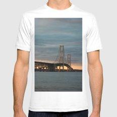Sunset at the Mackinac Bridge MEDIUM White Mens Fitted Tee