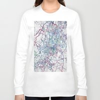 austin Long Sleeve T-shirts featuring Austin map by MapMapMaps.Watercolors