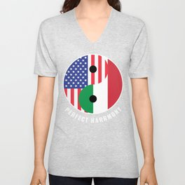 USA Italy Ying Yang Heritage for Proud Italian American, Biracial American Roots, Culture, Unisex V-Neck