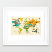 map Framed Art Prints featuring WORLD MAP by Jazzberry Blue