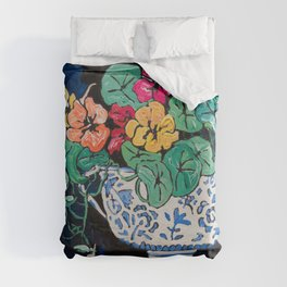 Nasturtium Bouquet in Chinoiserie Bowl on Dark Blue Floral Still Life Painting Duvet Cover