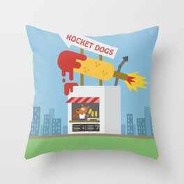Snack Shacks #3 - Rocket Dogs Throw Pillow