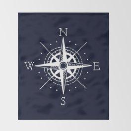 Navy Nautical - White Compass Throw Blanket