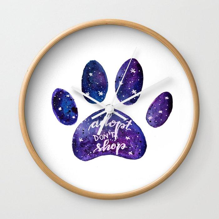Adopt don't shop galaxy paw - purple Wall Clock