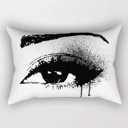 Black and White Eye makeup with paint drips Rectangular Pillow