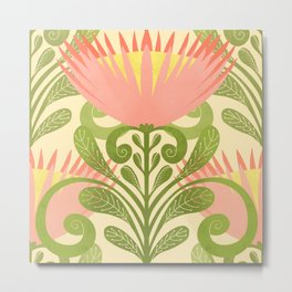King Protea Flower Pattern - yellow Metal Print