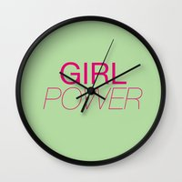 girl power Wall Clocks featuring Girl Power by kirstenariel