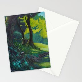 Magic forest glade art bright colors Stationery Cards