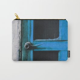 closeup old blue vintage wood door texture background Carry-All Pouch